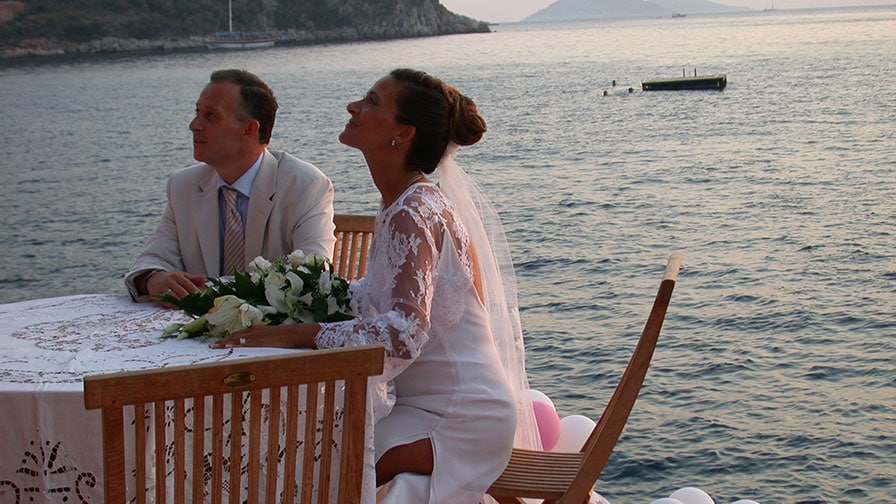 Kalkan Wedding with Balloons at Sunset