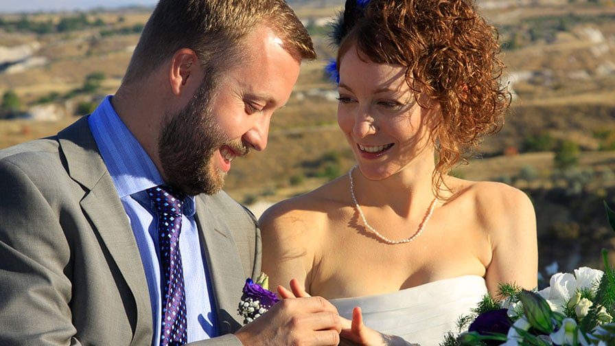 Turquoise Wedding Dress in Cappadocia